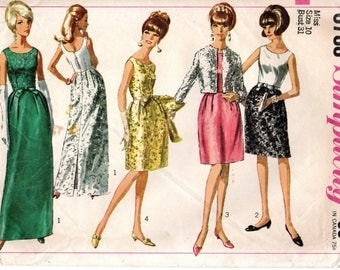 1960s Simplicity Sewing Pattern 6788 One Piece Dress Two Length & Jacket Size 10