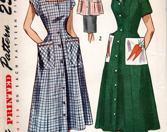 1950s Simplicity Sewing Pattern 3423 Front Button Dress Smock Transfer Included Size 18