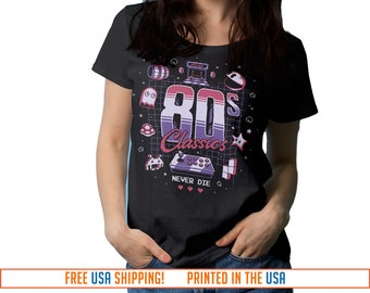 Classic Gamer T-Shirt. 80s Classics Never Die. Geek Tee for Women, V-Neck Style Tee