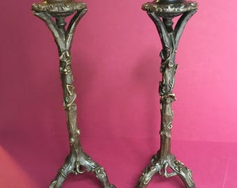Pair of Late Georgian Bronze Candlesticks