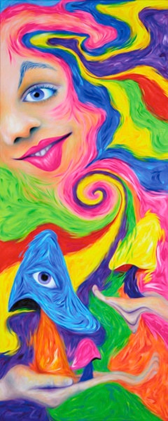 Psychedelic Poster - Krystle Cole Self Portrait, NeuroSoup, Psychedelic Art, Visionary Art, Shrooms, Mushroom Art, Psychedelic Print.