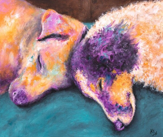 "Dog Art Print - Dog Gift for Her, Two Dogs Cuddling, Sleeping Dogs, Dog Gifts for Owners, Dog Print of a Dog Painting ""Sammy and Trevy"""