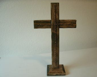 Wooden Cross with Copper accents