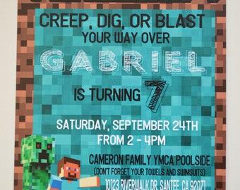 Minecraft Invitations - Creep on Over Invite - Creep, Dig, or Blast
