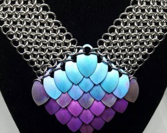 Mermaid Scale Chainmaille Necklace in Stainless Steel with Anodized Titanium Scales, One of a Kind, OOAK, Dragon Scale