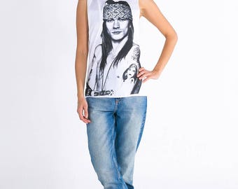 Womens Axl Rose Dropped Arm Vest Tank-Top Singlet Sleeveless T-Shirt Ladies