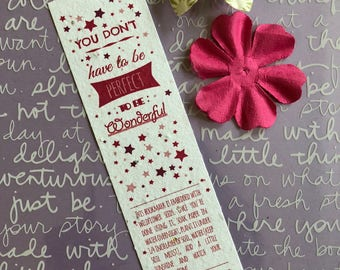 plantable bookmark, gift for readers, teachers gift, book lover gift, unique bookmark, gifts for girls, kids bookmark, Kind Is Beautiful