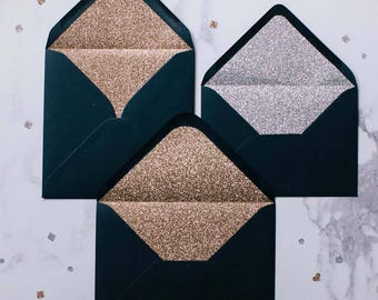 Silver or Gold glitter-lined navy envelopes - Pack of 10