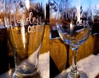 Personalized Etched Bride and Groom Glasses