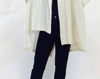 Short kimono jacket vintage kimono white kimono jacket white linen kimono White linen jacket linen boxy jacket asymmetrical kimono coat l xl