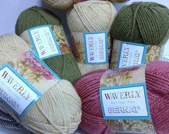 Bernat Waverly Yarn, Sun Drift Gold, Green Willow, Bitter Rose Pink Thick Acrylic Ultra Soft Yarn for Knitting Handmade Gifts & Accessories