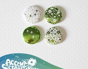 """Badge 1"""" - Étoile métallique vert (Design par KareenBH)"""