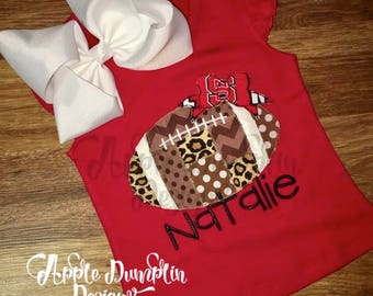 Patchwork Football with Bow Applique Design, Machine Embroidery Design, Sports, Girl, Cheer, Back to School, Homecoming, 4x4, 5x7, 6x10