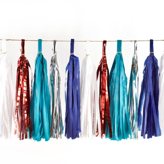 Evening Sparklers Tassels, Tissue Tassels, Tassel Banner, Summer Party Decor, DIY Tassels, Independence Day, Fourth Of July, 4th, Red