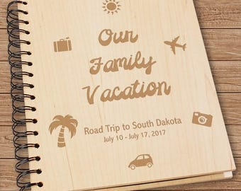Engraved Vacation Wood Photo Album, Family Vacation Photo Album, Custom Engraved Vacation Photo Album