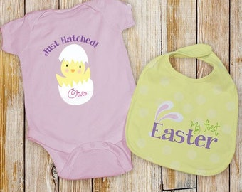 Baby's First Easter Pink Personalized Creeper & Bib , Personalized Easter Shirt and Bib Set, My Fist Easter