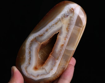 Natural Red Agate Carnelian Geode Crystal Quartz Agate Polished Specimen J547