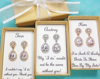 Bridesmaids Gifts, Bridesmaid Earrings, Bridesmaid necklace, Bridal earrings, Bridesmaids' Gifts, bridal party gift, Cubic Zirconia earrings