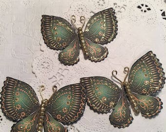 Golden Treasure Emerald Gold Glass Bodied Butterflies DarlingArtByValeri Set for Scrapbooking Embellishment Mini Albums Cards Wedding Gifts