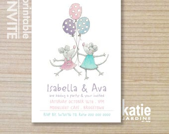 kids invitation - girls invitation - printable invitation - twin girls invitation - mouse invitation - mice - balloons - mouse party