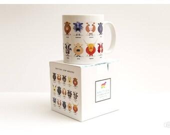 Farm animal mug, Cow mug, Sheep mug, Chicken mug, Horse mug, Pig mug, British, Farm Gift, farmhouse