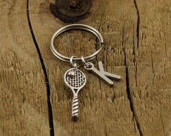 Tennis keyring, tennis racket keychain, tennis keychain, personalised tennis gift, tennis fan gift, sport keyring, tennis lover keychain