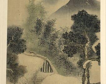 "1909, Japanese antique woodblock print, Yosa Buson, ""農家飼馬図""."