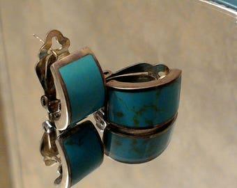 Inlaid silver turquoise half hoop omega back earrings