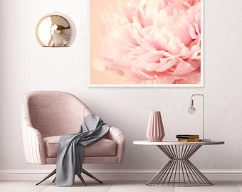 Pale Pink Peony Print, Blush Pink Peonies, Flower Photography, Still Life Photography, Baby Girls Nursery Decor, Extra Large Wall Art