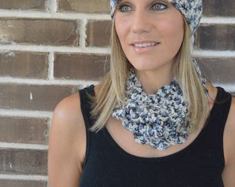 Crochet Cowl and Cap Hat // Adult Size // Hat and Cowl Set