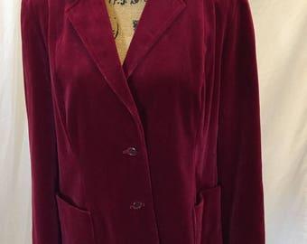 Vintage SURREY CLASSICS Canada Velvet Berry Blazer Lined ILGWU Union 2 Buttons