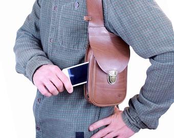Sacoche holster d'épaule en cuir DELUXE - sacoche holster - sacoche d'épaule - fait main Made in FRANCE