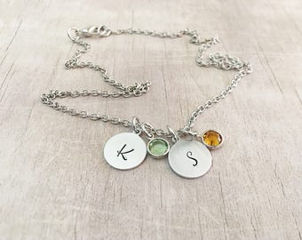 Mom Birthstone Necklace with Initials - New Mom Necklace - Mom Birthstone Necklace - Mothers Necklace with Kids Birthstones