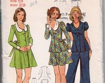 "Girls Skate Dress Retro Mini Dress Pattern Lolita Dress BUTTERICK 3015 bust 29"" 1970s Dress Pattern Mini Skirt and Top Bell Bottom Pants"