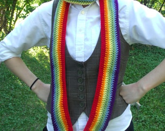 crochet rainbow scarf