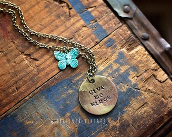 Give Me Wings Necklace | Hand-stamped Brass Pendant Butterfly Inspirational Jewelry
