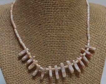 Ivory, Taupe & Blush Shell Barrel Bead Choker with Tusk Accents