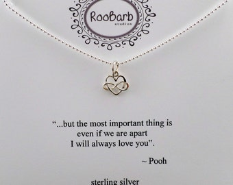Intertwined Infinity & Heart Charm Necklace - Sterling Silver