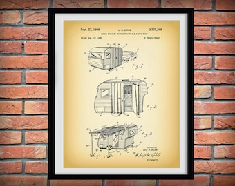 1966 Camper Trailer Patent Print - Camping Decor - Poster - Camper Patent Print - Outdoors Decor - Camping Gift - Happy Camper Gift