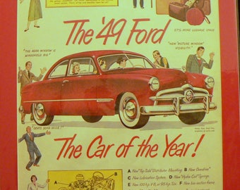 1949 Ford Car Ad Matted Vintage Print
