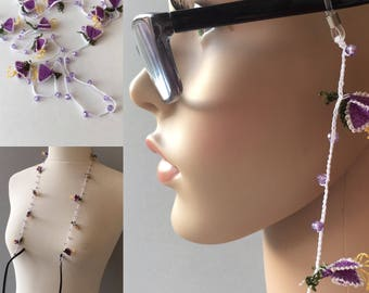 Eye glass holder, Neddle Art Eyeglass Chain, Purple and Lilac, Eye glass Chain, Gift for Mom, Gift for Grandma , Eye glass Necklace