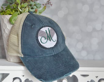Monogram trucker hat - custom hat - navy blue ball cap - personalized hat - embroidered baseball cap - summer cap - circle embroidery hat