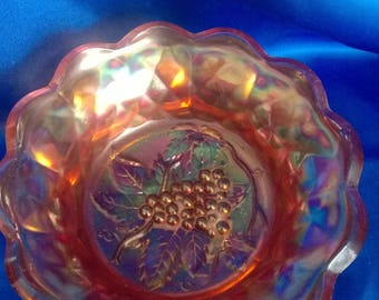 Art Nouveau/Deco Marigold Luster Carnival Glass Bowl, Grape Design