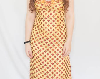 Maxi Dress Summer Print Orange Yellow Red Strappy 1970s