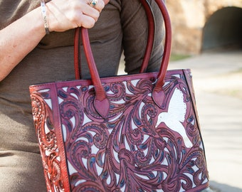 Hummingbird Wine Floral Tote Bag, 100% Leather, PERSONALIZE YOURS!, Free Shipping!