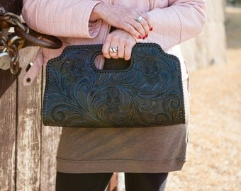 Skull Black Clutch, 100% Leather, Hand made, FREE SHIPPING