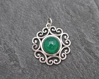 Green Onyx Pendant - Sterling Silver