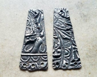 3-hole Long Tinned Copper Charms - 1 pair