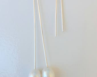 Long Freshwater Pearl Earrings | Sterling Silver Earrings | Bridal Earrings | Bridesmaids Gifts