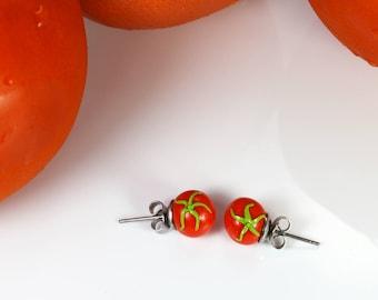 Tomato Stud Earrings